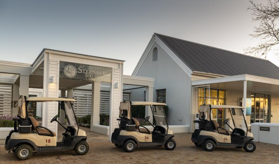 Golf carts in front of clubhouse