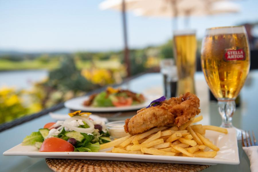 Fish and chips at the Terrace Bar at Steenberg Golf Estate
